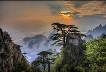 Yellow Mountains, Huangshan, China / The world famous landscape of strange granite peaks. Home of sunrises and stunted pines. Allegedly the most beautiful area in China, and maybe in the world. And the strange shapes of the pines inspired what would later become known as Bonsai