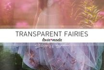 Transparent Fairies / Elegant dresses with transparency, lace and Tulle transform women into fairies.