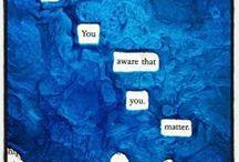 caviardage / pratique graphique dériver du caviardage de censure qui consiste à jouer avec un texte déjà imprimé pour créer un autre sens (souvent humoristique ou poétique)