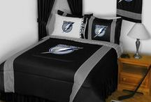 Tampa Bay Lightning Merchandise, Bedding, Decor & Gifts / Tampa Bay Lightning merchandise is an incredible way to decorate your home & office to create your own Lightning fan zone in your bedroom, kid's bedroom, game room, study, kitchen, living room, and even the bathroom. Also perfect as Tampa Bay Lightning fan gifts. Show off your Lightning team pride today!