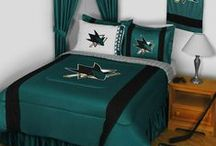 San Jose Sharks Merchandise, Bedding, Decor & Gifts / San Jose Sharks Merchandise is an awesome way to decorate your home & office to create your own Sharks fan zone in your bedroom, kid's bedroom, game room, study, kitchen, living room, and even the bathroom. Also perfect as San Jose Sharks fan gifts. Show off your Sharks team pride today!