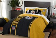 Pittsburgh Steelers Merchandise, Bedding, Decor & Gifts / Pittsburgh Steelers Merchandise is an awesome way to decorate your home & office to create your own Steelers fan zone in your bedroom, kid's bedroom, game room, study, kitchen, living room, and even the bathroom. Also stylish as Pittsburgh Steelers fan gifts. Steeler Nation - Show off your team spirit today!