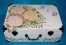 Wedding Keepsake Boxes / This is a lovely collection of decorative custom and personalized hand painted wood wedding keepsake memory boxes and wedding suitcase boxes.