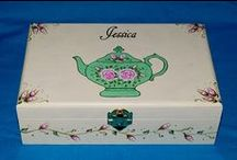Hand Painted Tea Boxes / This is a collection of custom decorative hand painted or wood burned tea boxes that can be personalized.