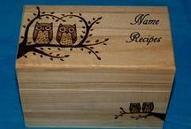 Rustic Wood Recipe Boxes / Custom & personalized rustic wood burned recipe card boxes.