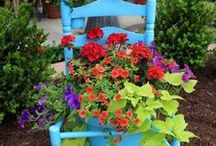Plant your Chair / I love old chairs, & like putting them IN a flower bed or just placing them where there's a pretty view & putting something I love ON it.......Using old or discarded chairs as planters......such a great idea & so pretty..  / by Lilli Lee