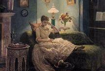 Läsmålningar / Romanläsandet slog igenom under 1700-talet. I 1800-talets målarkonst var läsande kvinnor ett vanligt motiv.