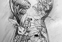 We're All Mad Here / Alice in Wonderland + Crazy Drawings