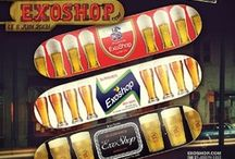Skateboards / Various Exo-branded and top quality brands skateboard decks and goods