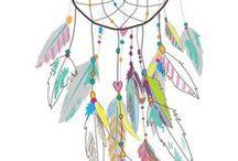 Dreamcatchers / Ilustrações de apanhadores de sonhos; apanhador de sonhos; dreamcatcher