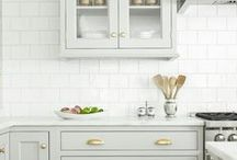 Kitchen: Marble Counters, Painted Cabs, Brass Hardware