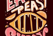 Typography, letters, frases / Juego de palabras, tipos de letras, y dibujos con palabras.