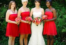Bridesmaids in Red / red bridesmaid dresses