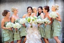 bridesmaids in Green / purple bridesmaid dresses and accesories