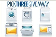 You Pick Three Giveaway / You could win your choice of three brand-new GE® appliances! It's easy! For a chance to win and for official rules, visit: http://bit.ly/PickThreeGiveaway2015