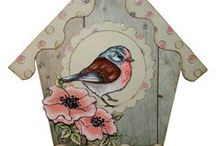 Garden Birds / This is the gorgeous new 'Garden Birds' set designed by Sharon Bennett for Hobby Art. Clear set contains 10 stamps. Overall size of set - 100mm x 260mm approx. All our clear stamps are made with photopolymer resin. Designed by Sharon Bennett for Hobby Art Stamps. / by Hobby Art Stamps