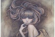 Audrey Kawasaki / Audrey Kawasaki (born March 31st 1982) is a Los Angeles-based painter, known for her distinctive, erotically charged portrayals of young, adolescent women. / by Rebecca Southall