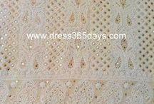 Pure Georgette Chikankari (Chikan) Fabric with Mukaish work / Pure Georgette Chikankari Suit Lengths