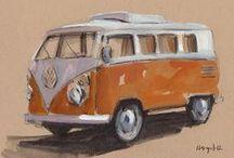 Illustration de vespa,VW et moto