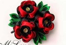 flores de liston y algo mas / Flores de listón, moños, broches, diademas, etcétera, etc.   / by Rita González