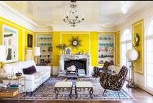 Wear the Room: Bold Yellow Living Room as Laurie / For our second installment of Wear the Room, we've channeled Kim and Proper designer Kim Bachmann's bold yellow living room into a fierce fashion-forward look. Drawing on the room's dark plum furnishings and accessories, we've selected our Laurie dress in Plum as the base for this chic ensemble.