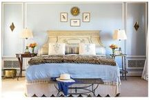 Wear the Room: Pale Blue Bedroom as Vandy II / For our third installment of Wear the Room, we've translated Kim and Proper designer Kim Bachmann's pale blue bedroom into a ladylike ensemble. With its elegant, feminine details, it was clear to us that this room was dying to be reimagined as our Vandy II in Charcoal. Chic accessories such as silk lined leather gloves, a pale blue scarf, and black peep-toe pumps give this outfit an effortless ease. Not to mention the leopard print clutch, which adds just the right amount of attitude!