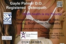 Living Elements Clinic / Gayle Palmer D.O. Osteopath, Cranial Osteopath and wholistic therapist owns and runs the clinic in Sidlesham, near Chichester. Her aim - to keep her clients well and thriving - from in utero to over 100 years young! Osteopathy, nutrition, health advice and understanding presented in easy-to-understand ways and great results. www.livingelements.co.uk