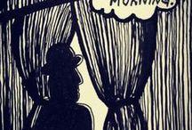 WORK BY ME / Art illustration watercolour black ink graphic Woodcut linocut screen