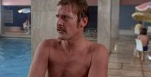 Shirtless Moore / Roger Moore, the most handsome man ever.