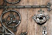 Door Ironmongery Ideas / ~~~~~~~~~~~~Lovely Examples of Metalwork on Wooden Doors~~~~~~~~~~~~~~  Escutcheons, Door-handles, Door-knockers, Door bells