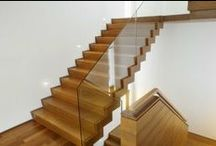 Modern Wooden Stairs / Love your home and want to enhance it? We'd be happy to make you a wooden staircase inspired by any of these contemporary designs: open tread stairs, glass balustrading, floating staircases, steel and wood.....  www.merrinjoinery.com