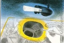 Eric Ravilious, Trains, Boats & Planes / Eric Ravilious was fascinated by machines, the semi-derilect, stumbling across the unexpected, abandoned, out of context. The surreal, the curious juxtaposition, the incongruity of modernism placed within an older tradition. All are evident in his work. Enjoy
