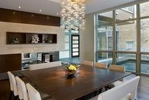 Dining Room Ideas / Long elongated custom mirrors and trim to give scale and height to the room