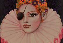 Marion Benoit - Peinture / Toiles (sur ou sans chassis) de lin ou de coton, peintes à la peinture à l'huile, acrylique, minérale, gouache et collages de papiers anciens ou de publicité, finition glacis à l'huile d'oeillette.