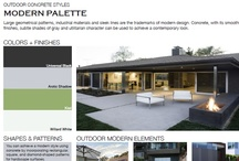 Modern Outdoor Concrete Styles / Browse through outdoor concrete styles that feature a modern palette.  From large geometrical patterns and industrial materials, find the right style for you.  View all outdoor concrete styles at http://www.concretenetwork.com/outdoor