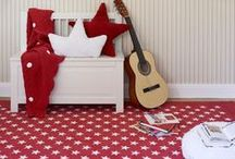 Red Kids Room Decor / Red for kids rooms is a bold and cool statement. Add a pop of red with an accent rug or kids pillow.