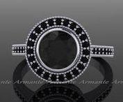 Black Diamond Rings / Black diamond bridal jewelry