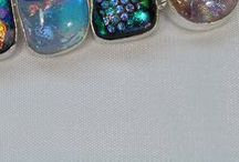 Dichroic Glass, Sterling Silver