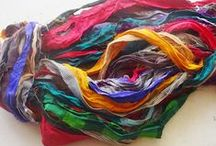 Recycled Sari Silk Ribbon / When silk fabric is cut and made into saris, wraps, and veils, there is always a bit left over. Rather than throw that waste fiber into the trash, it has been made into a beautiful, unique, soft yarn! Direct from India, this yarn is a truly recycled product!