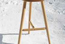 Wood stools and chairs