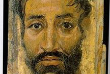 Fayum - Portraits / Fayum mummy portraits (also Faiyum mummy portraits) is the modern term given to a type of naturalistic painted portraits on wooden boards attached to mummies from the Coptic period