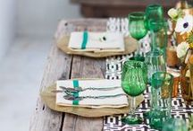 Green Tablescapes / Fresh, natural + sometimes tropical. That's the kind of table we gather around.