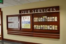 Hospital Displays / Hospital displays create an inviting environment for patients, visitors and employees. We can work with you to enhance the hospital experience from the lobby to the nurses' station to your patient rooms. Our displays can provide way-finding and directions as well as showcase donors, events and other important information.