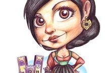 Xeínhas / Pin-Up Cartoons of Xeínhas (curvy girls)   - by Carina Lima