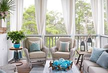 Porch & Front Door Ideas / Ideas for transforming an ordinary porch into a relaxing or a sleeping porch. Inspiration for floors, furniture, window treatments, and DIY projects. Naps, bed swings, summer breezes, and lemonade.