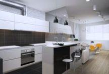 Park Avenue Apartment / Квартира создавалась в современном жилом комплексе. В стилистике присутствуют современные тренды: кирпич, серые цвет в сочетании с яркими вставками.