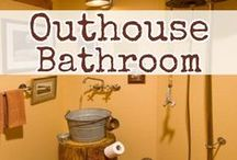 Country Outhouse Bathroom Decor Ideas / Outhouse bathroom redecorating tips and decor ideas.  Also good for country-themed farmhouse bathrooms and rustic bathrooms and cabin bathroom decor ideas.  Great DIY tips too.