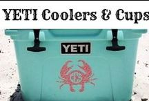 YETI Coolers!!! / Are YETi coolers HYPE?  Oh noooo.... take a look at this! LOVE our YETI cooler and tumblers!  Best coolers EVER!  This board has all the cool YETI cooler stuff I've found online.