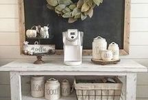 Coffee Bar Ideas • DIY Home Coffee Bars / DIY Coffee Bar Ideas • Coffee station and Kitchen Coffee Areas • Great DIY Ideas for a coffee bar in an apartment, at a wedding or party or in a small kitchen on a cart (or countertop).  Farmhouse coffee bar ideas, rustic coffee bar ideas and more.