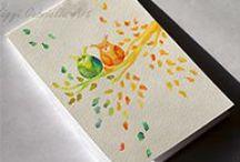 Kézzel festett füzeteim / Egyedi, akvarell technikával, kézzel festett füzetek, melyeknek egy része megvásárolható.